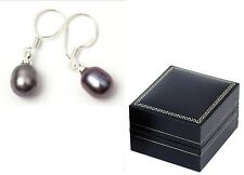 Real black freshwater pearl drop earrings ear rings silver back new in gift box
