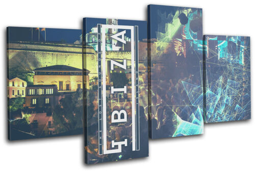 Ibiza Island Typography DJ Club MULTI CANVAS WALL ART Picture Print