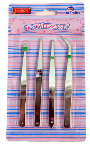 TWEEZERS 4 PIECE SET PERFECT FOR ARTS /& CRAFTS JEWELRY AND ELECTRONICS!