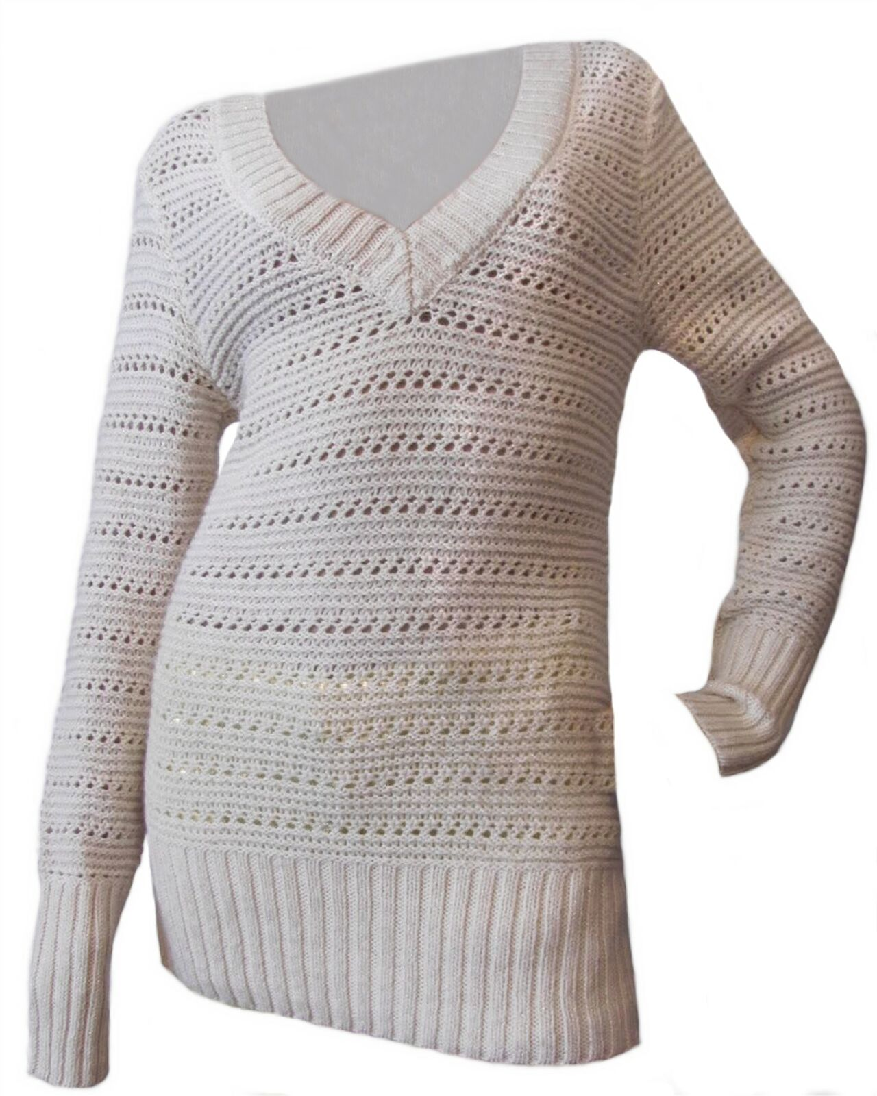 Lucky marque Naturelle Femme Casual Crochet Tricot Pull-Over v-neck sweater