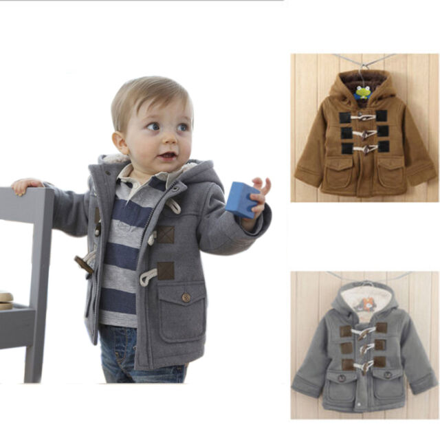Baby Toddler Boys Winter Horn Button Hooded Coat Outerwear Jacket Hoodies 6M-3Y