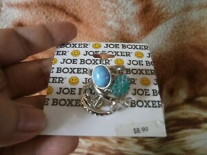 CLOSEOUT-SALE-From-USA-8-99-Joe-Boxer-Blue-amp-Silver-Stackable-Rings-2