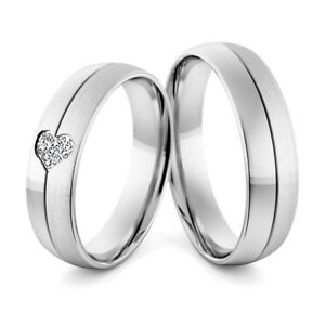 White Gold Wedding Rings.Details About White Gold Wedding Rings His And Hers Diamond Set Heart Band Brushed Matt Finish