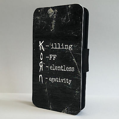KORN Rock Band Metal Quote LEATHER FLIP PHONE CASE COVER fits IPHONE & SAMSUNG