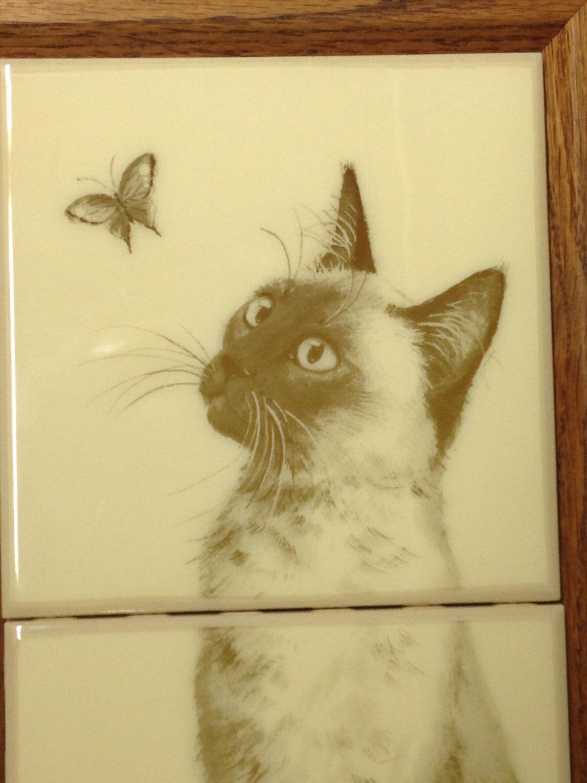 Doris Johnston Hays Gato de Siamés Velando Mariposa Colgante de Gato Pa rojo  Azulejo Arte 9458e3
