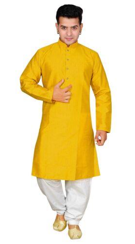 Salwar Kameez Rayures 1820 En Kurta à De Coton Indienne Homme Soie Jaune Sherwani Pantalon nOPX08kw