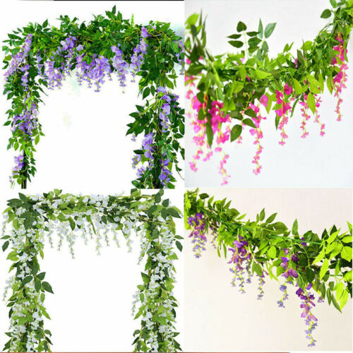 2x 7FT Artificial Wisteria Vine Garland Plants Foliage Flower Outdoor home  DADE