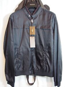 Details about GUCCI Monogram GG Jacquard Windbreaker Black Polymide size 52