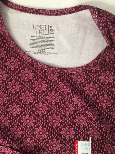 Time And Tru Women/'s Burgundy Combo Long Sleeve Scoop Tee Size S 4-6 New