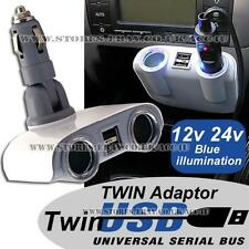 12v 24v 2 Way Car Cigarette Lighter Multi Socket Twin USB Charger Adaptor POLC36