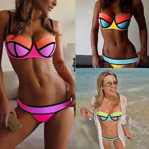 uk ladies bandage triangle bikini set womens neoprene push up swimsuit swimwear ebay. Black Bedroom Furniture Sets. Home Design Ideas