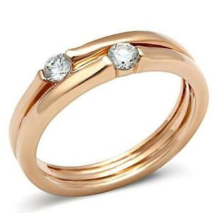 Rose-gold-band-solitaires-cz-cubic-zirconia-ladies-ring-5mm-steel-new-1491