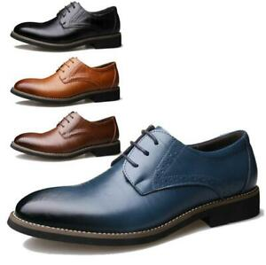 Mens Genuine Leather Oxfords Dress Formal Wedding Shoes Lace Up Casual Brogues
