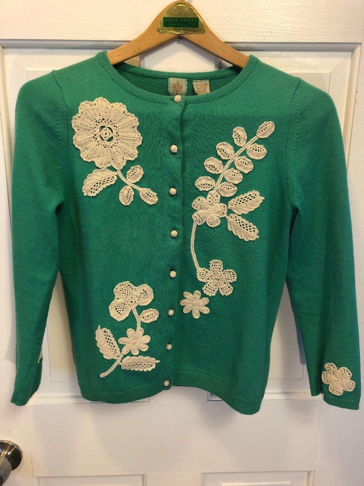 189. Rare Anthropologie HWR Monogram Vintage Style Applique autodigan Sweater S