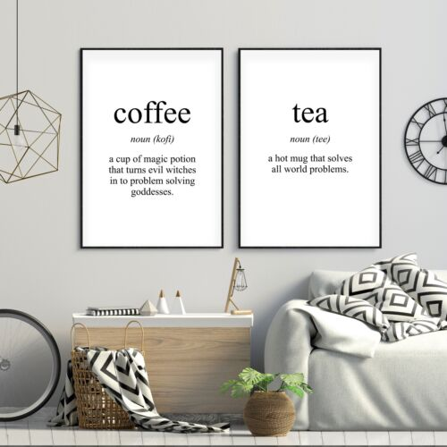 Set of 2 Tea /& Coffee Funny Meaning Black Kitchen Poster Prints Wall Art Decor