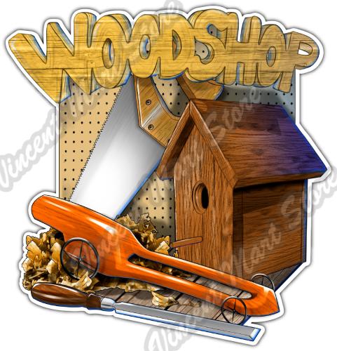 Wood Shop Carpenter Woodshop Tools Saw Car Bumper Vinyl Sticker