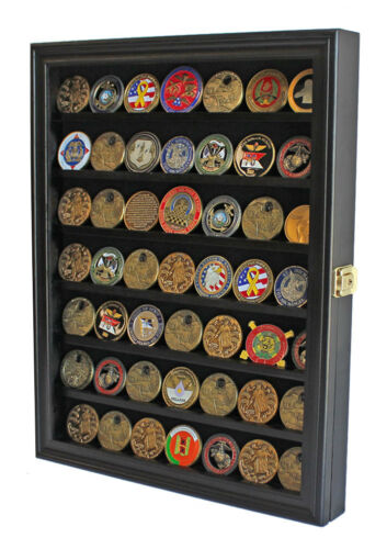 LOCKABLE Challenge Coin Display Case Casino Chip Pin Medal Shadow Box Cabinet