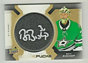 2019-20-Upper-Deck-UD-TRILOGY-SIGNATURE-PUCKS-AUTOGRAPH-BEN-BISHOP-ON-CARD-AUTO