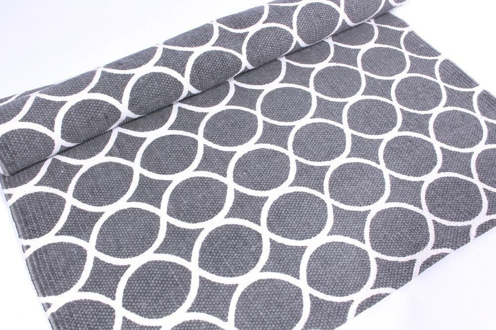 Teppich Läufer 70x200 Baumwolle Muster Grünatur Flur rug carpet tiles grafik