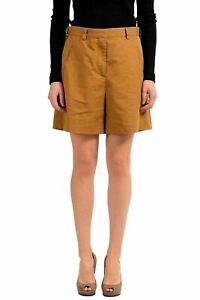 Maison-Margiela-1-Linen-Brown-Women-039-s-Casual-Shorts-US-s-IT-40