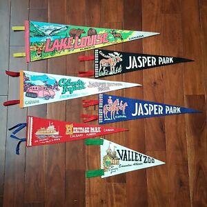 Lot-of-6-Vintage-Jasper-Edmonton-Alberta-Canada-Pennant-Felt-Banner-40s-60s-70s