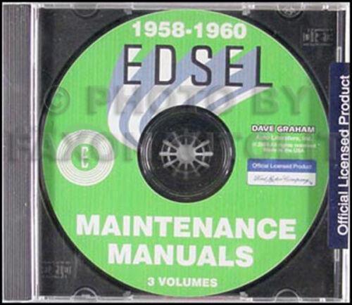 1958 1959 1960 Edsel Shop Manual Set on CD Repair Service Maintenance