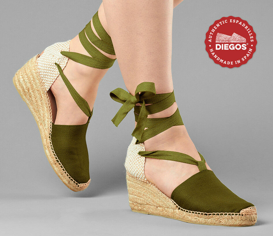 1c45cc6d155e7e Diegos® Authentic green Handmade Spanish Espadrilles High wedge lace up  shoes. Dr Martens ...