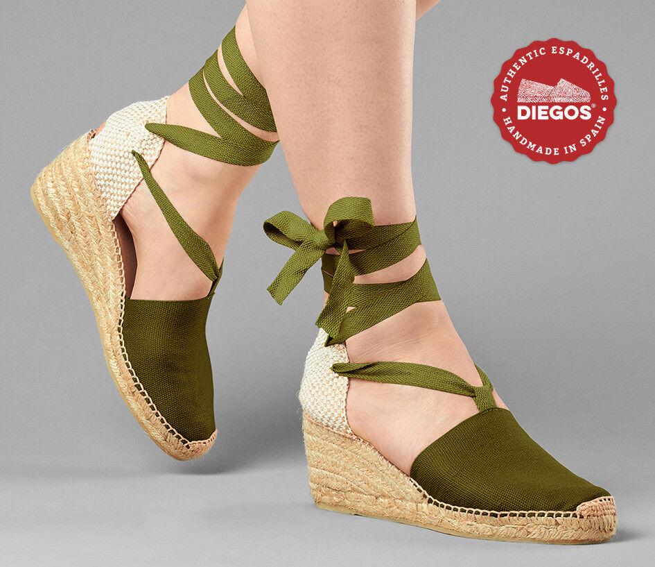 Diegos ® Auténtico verde Hecho a mano español español español Alpargatas   Cuña Alto Zapatos Con Cordones  marcas en línea venta barata