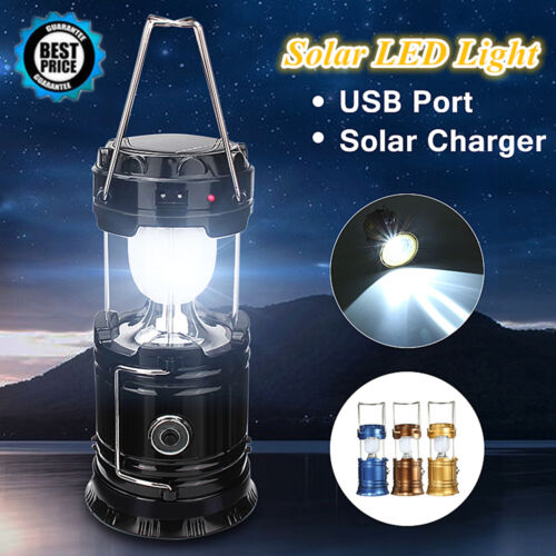 Solar Rechargeable LED Flashlight Power Camping Tent Light Torch Lantern Hot New