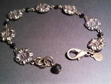 David Aubrey Bracelet Dark Silver or Pewter with Smoky Black Beads Vintage Mint