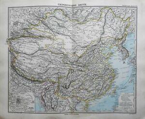 Chinese-Empire-Mongolia-Korea-Peking-City-Plan-1884-Stieler-detailed-map