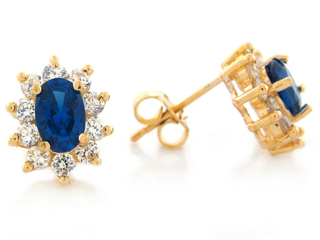 10k or 14k Solid gold Simulated bluee Sapphire White CZ September Ladies Earrings