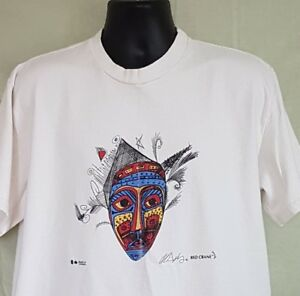 Alan-Syliboy-Mi-039-Kmaq-Shirt-First-Nations-Canada-Red-Crane-Mask-Red-Eyes-XL