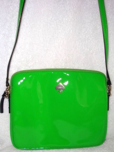 Kate Spade Lime Green W Navy Patent Leather Crossbody Tech Bag