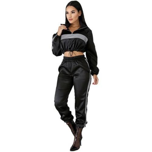 Women Casual Long Sleeve Crop Tops Jogger Pants Tracksuit Set Sport Suit Outwear