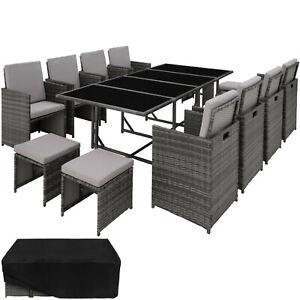 Détails sur Ensemble Salon de Jardin Poly Rotin 8x Chaise Table Tabouret  Résine Tressée Gris