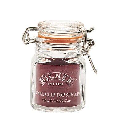 2 X Kilner Square Clip Top Airtight Glass Spice Jars Herb Preserve