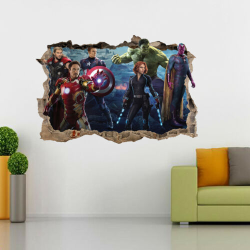 The Avengers 3D Smashed Wall Sticker Decal Mural Decor Iron Man Hulk Thor H145