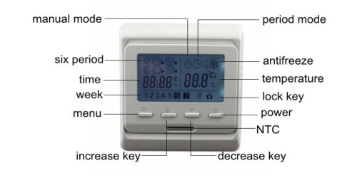 AC 16A 230V Temperature Controller Floor Heating Room Thermostat Control  Cable