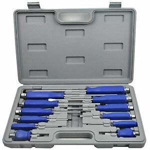 new 12pc heavy duty engineers mechanics screwdriver set with hex bolsters case ebay. Black Bedroom Furniture Sets. Home Design Ideas