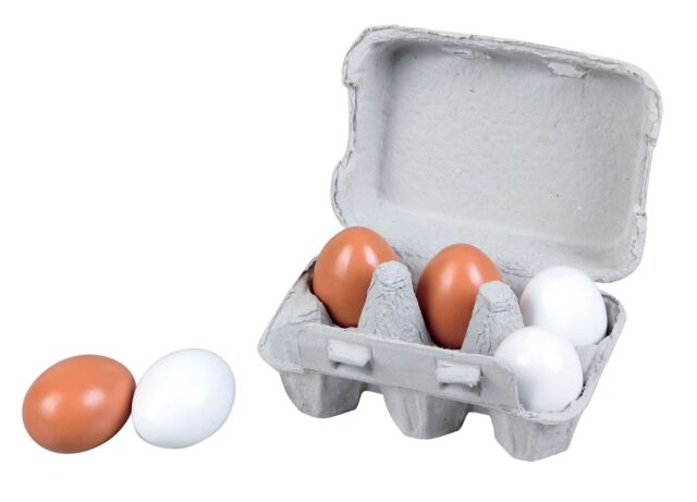 Lelin 6 Wooden Fake Eggs in Carton Pretend Play Toy Set - 7 Pieces