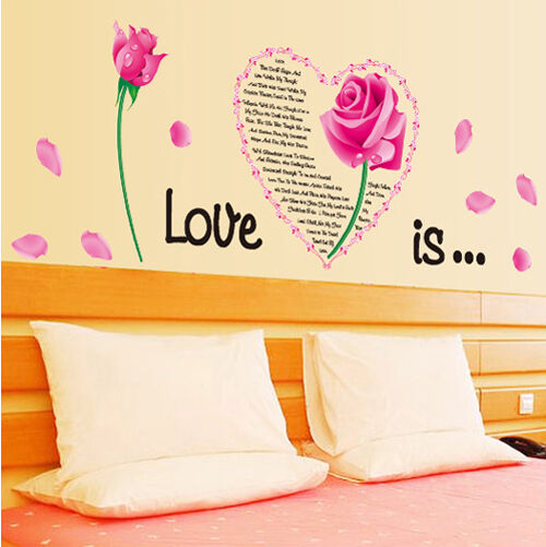 Love Heart Rose Flower Removable Wall Sticker Decal Home Decor Wallpaper Mural
