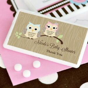 about 24 personalized woodland owl theme mini mints baby shower favors