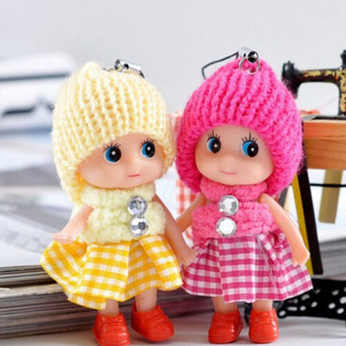 2Pcs Cute Baby Dolls Expression Interactive Mini Doll Cell Phone Keychain FS