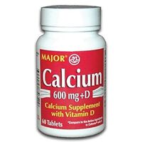 2 Pack Major Calcium With Vitamin D3 Tablets 600mg 60 Count Each on sale