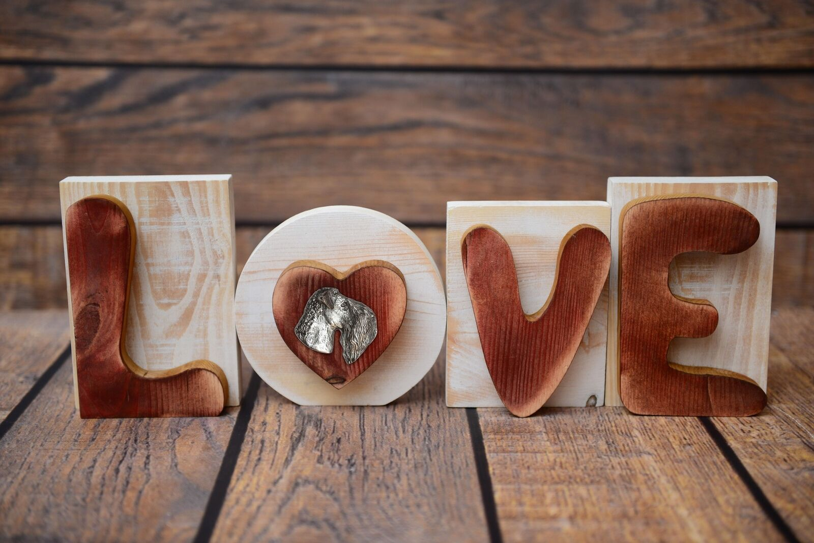 Kerry blu Terrier - iscrizione in legno 'LOVE' Art Dog IT