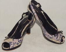 L.K. BENNETT - Purple - Floral & Leather - Peep Toe Pumps / Heels sz 38 / 8 Nice