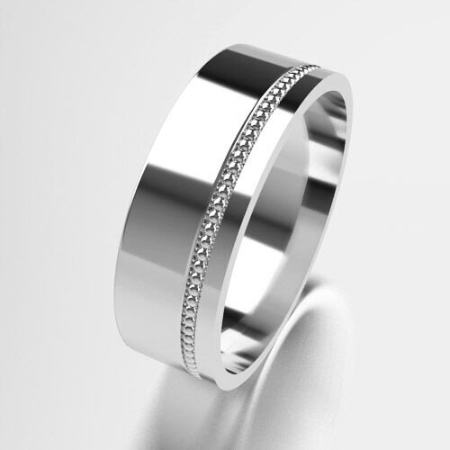 White gold Wedding Rings New Unique Modern Offset Millgrain Design Solid 9ct 375