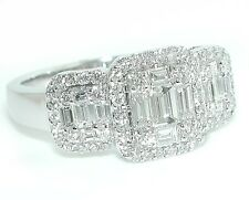 1.25 CT Triple Halo Emerald Cut Illusion Rounds & Baguettes DIAMOND Ring 18KWG