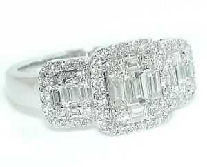 1-25-CT-Triple-Halo-Emerald-Cut-Illusion-Rounds-amp-Baguettes-DIAMOND-Ring-18KWG